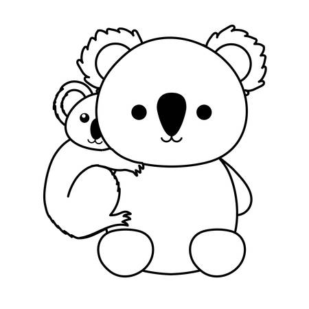 flat line uncolored mother and baby koala over white background  vector illustration Illustration