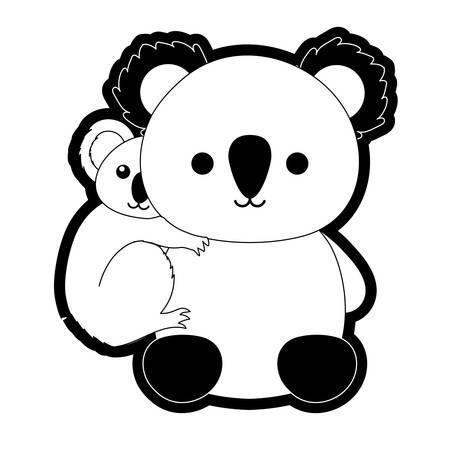 Flat line monochromatic mother and baby koala over white background vector illustration Çizim