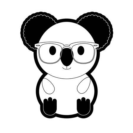 Flat line monochromatic koala with glasses over white background vector illustration