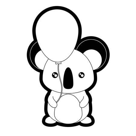 Koala with balloon illustration. Illustration