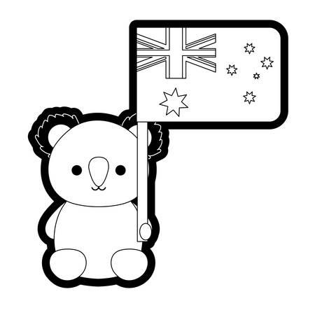 Baby koala with flag of australia vector illustration Illustration