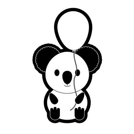 koala with balloon  vector illustration