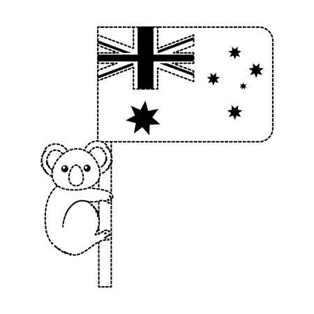 Koala hugging Australian flag vector illustration
