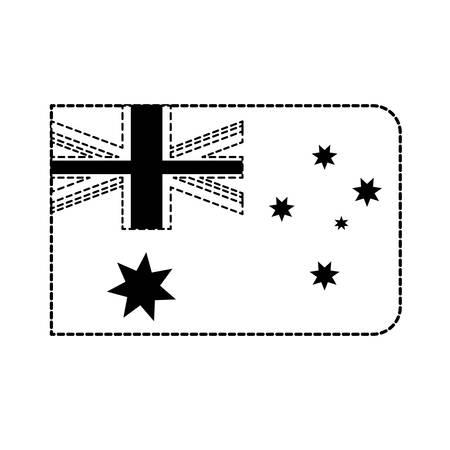 Flat line monochromatic flag of australia sticker over white background vector illustration Иллюстрация