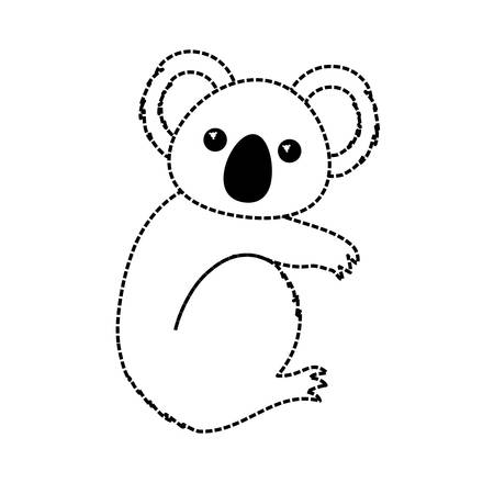 Flat line monochromatic koala over white background vector illustration