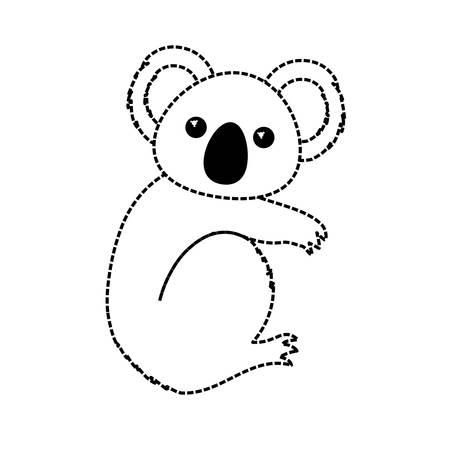 Flat line monochromatic koala over white background vector illustration