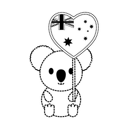 Flat line monochromatic koala heart design with flag of australia over white background vector illustration