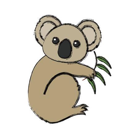 Colored koala light brown with eucalyptus over white background vector illustration Illustration