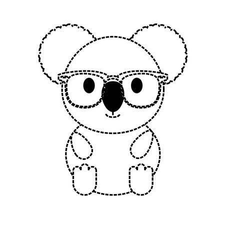 flat line monochromatic koala with glasses over white baclground vector illustration Illustration