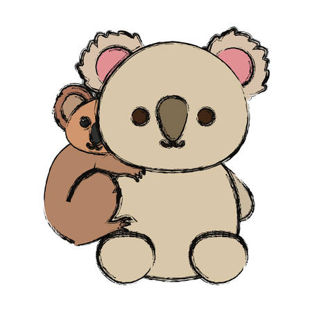 Colored mother and baby koala over white background vector illustration