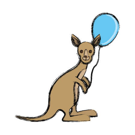Colored kangaroo with balloon over white background vector illustration Illustration