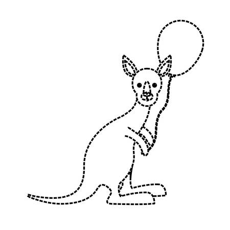 Flat line uncolored kangaroo with balloon sticker over white background vector illustration