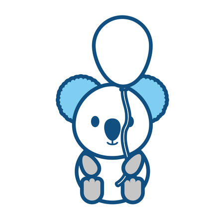 Colored koala with balloon blue over white background vector illustration Illustration