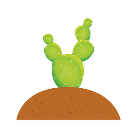 Colorful opuntia cactus with thorns in the soil over white background vector illustration Illustration