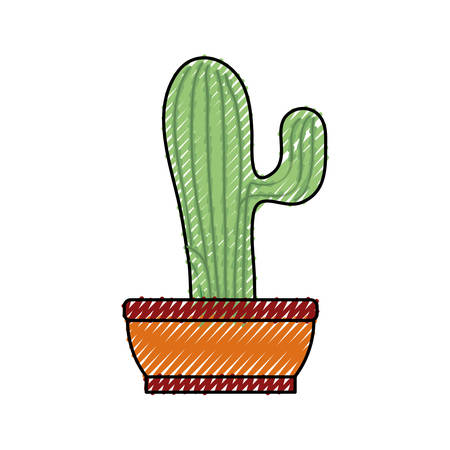Cactus in the potted illustration. Illustration