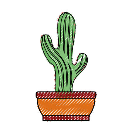 Cactus in the potted  illustration.