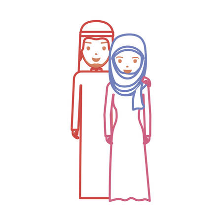 Cute Arab couple cartoon icon