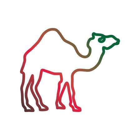 Camel cartoon silhouette neon lines Vectores