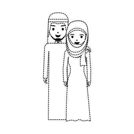 Illustration de dessin animé mignon couple arabe. Banque d'images - 92236464