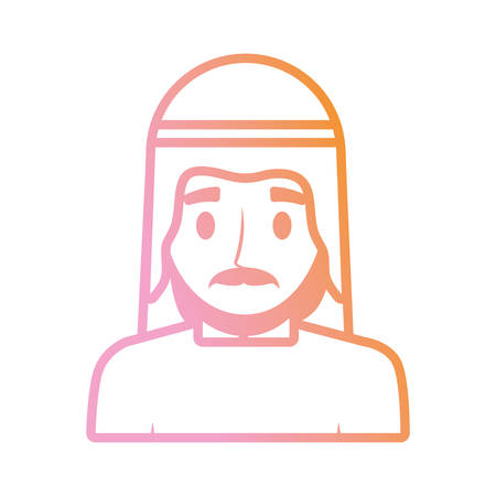 Arab man cartoon neon lines Ilustracja