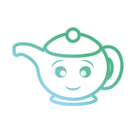 Kawaii teapot icon over white background colorful design vector illustration
