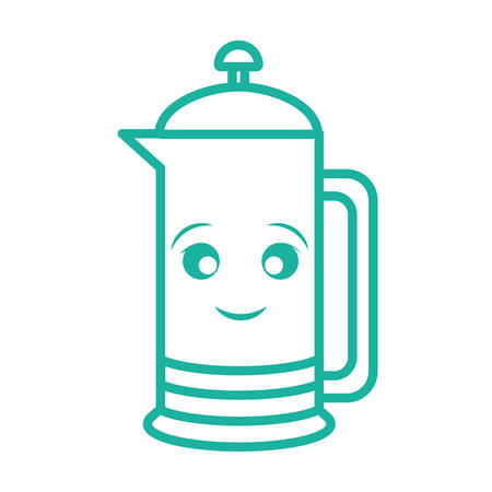 A coffee french press icon over white background colorful design vector illustration