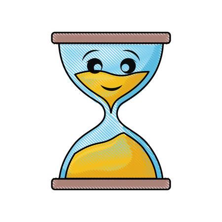 kawaii hourglass vector illustration Illustration