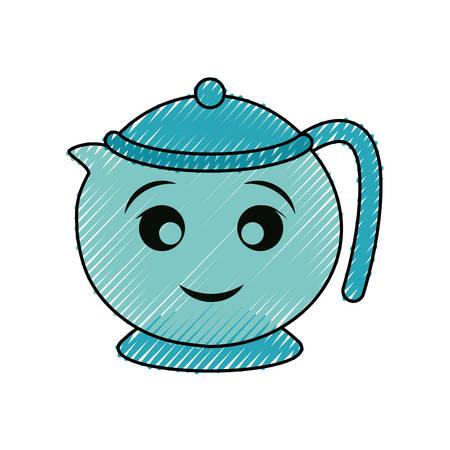 teapot vector illustration on white background.