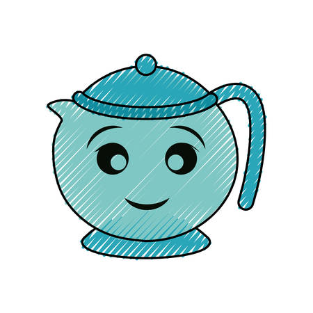 teapot vector illustration on white background.