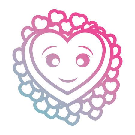 kawaii hearts design concept Illustration