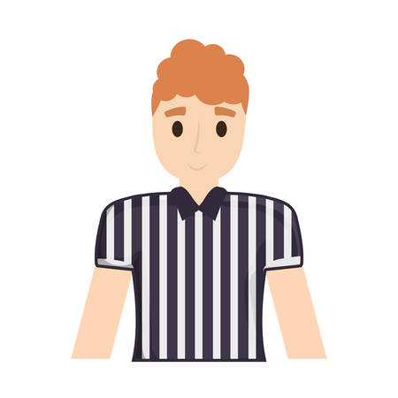 Colorful american football player man with striped t-shirt over white background vector illustration Çizim