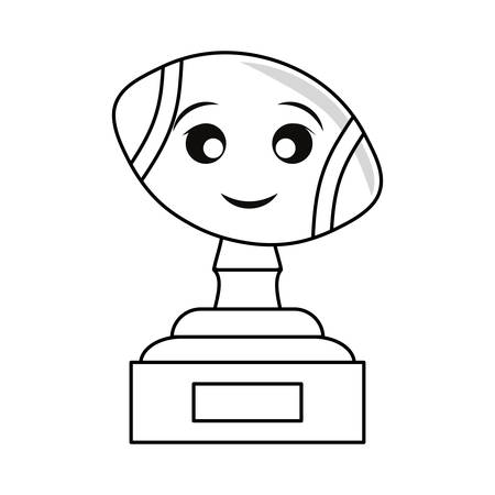 trophy with american football vector illustration