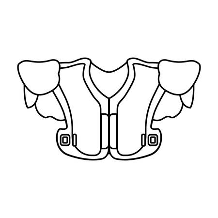 Flat line uncolored football shoulder pads over white background vector iilustration