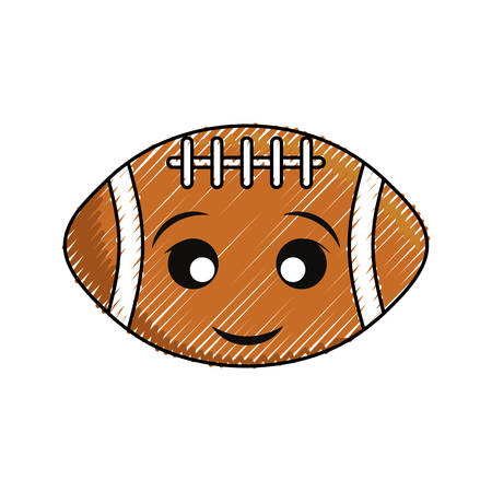 American football ball icon on white background illustration.