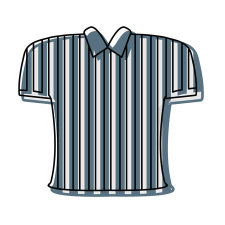 A striped referee tshirt over white background vector illustration