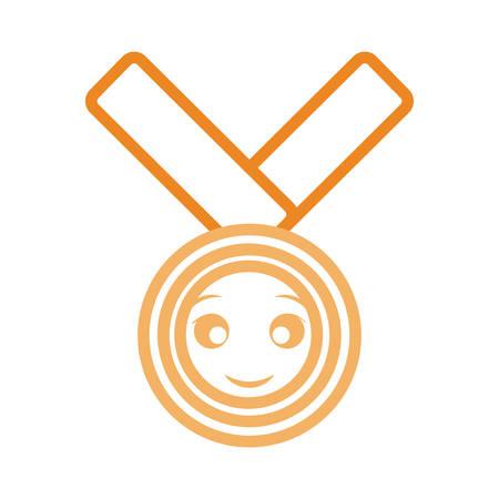 Flat line cartoon golden medal over white background vector illustration