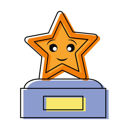 Cute trophy design on white background illustration.