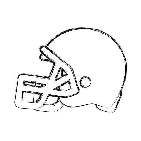 Sketch of american football helmet icon over white background vector illustration