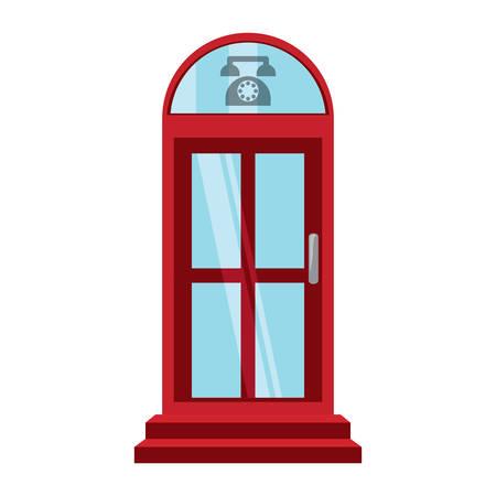 telephone box icon over white background colorful design vector illustration