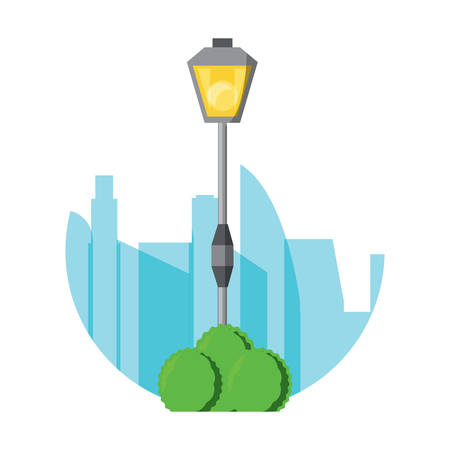 street light of vintage style over city silhouette and white background colorful design vector illustration