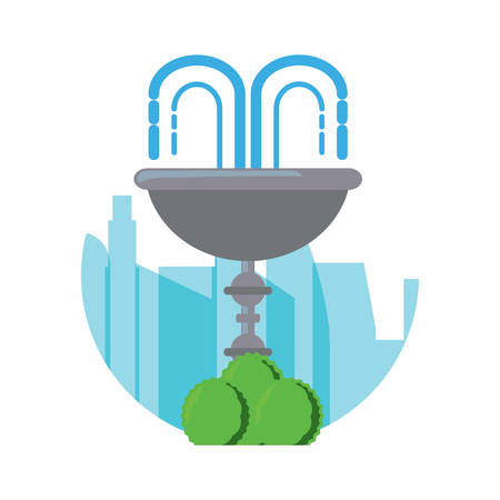 decorative water fountain with bushes icon over city silhouette and white background vector illustration Illustration