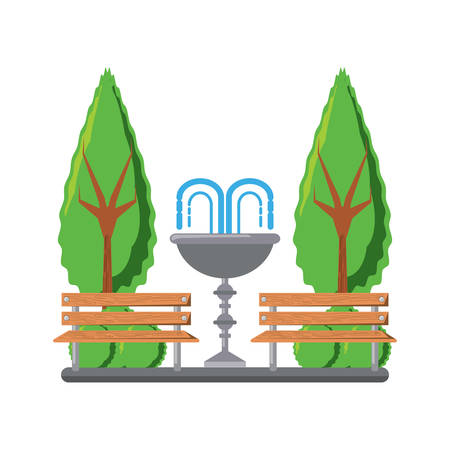 park with decorative water fountain and benches icon over white background colorful design vector illustration
