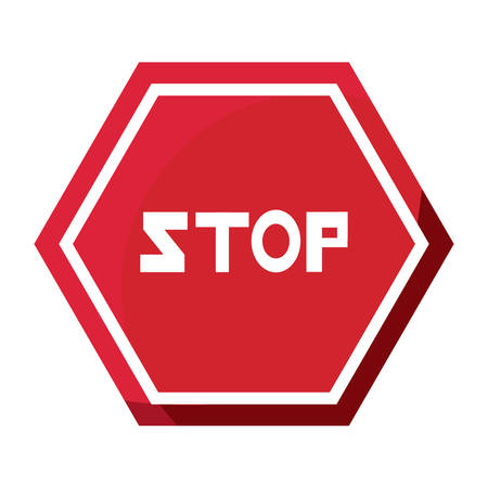 stop road sign icon over white background vector illustration Иллюстрация