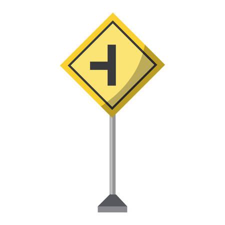 side road sign, warning road icon over white background colorful design vector illustration Illusztráció