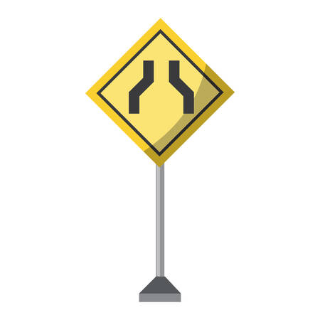 road narrows sign, warning road icon over white background colorful design vector illustration