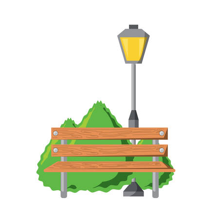 wooden bench and street lamp icon over white background vector illustration