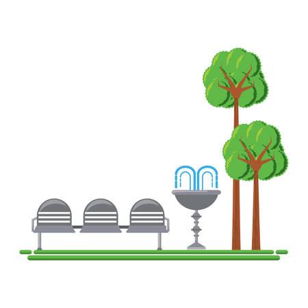 장식 물 분수와 석 아이콘을 가진 공원입니다. 일러스트