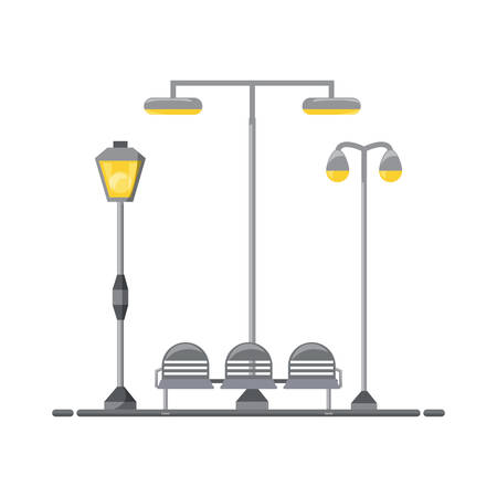 Seats and street lamps icon.