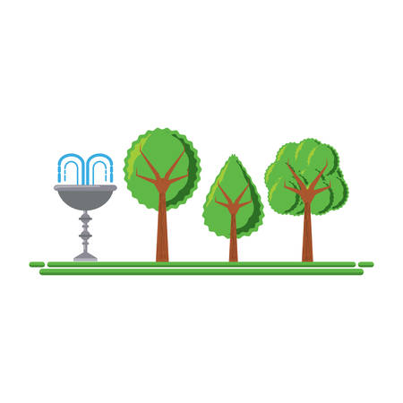 park with decorative water fountain icon over white background vector illustration