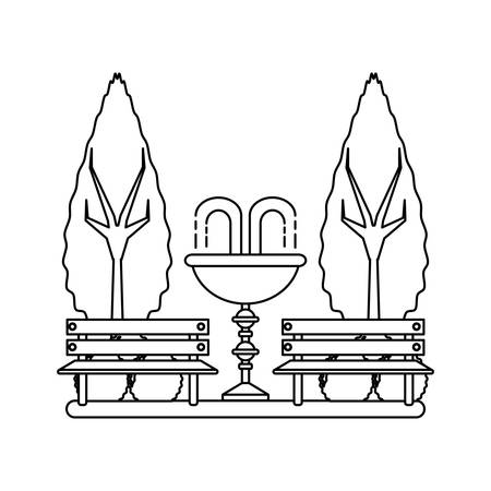 park with decorative water fountain and benches icon over white background vector illustration